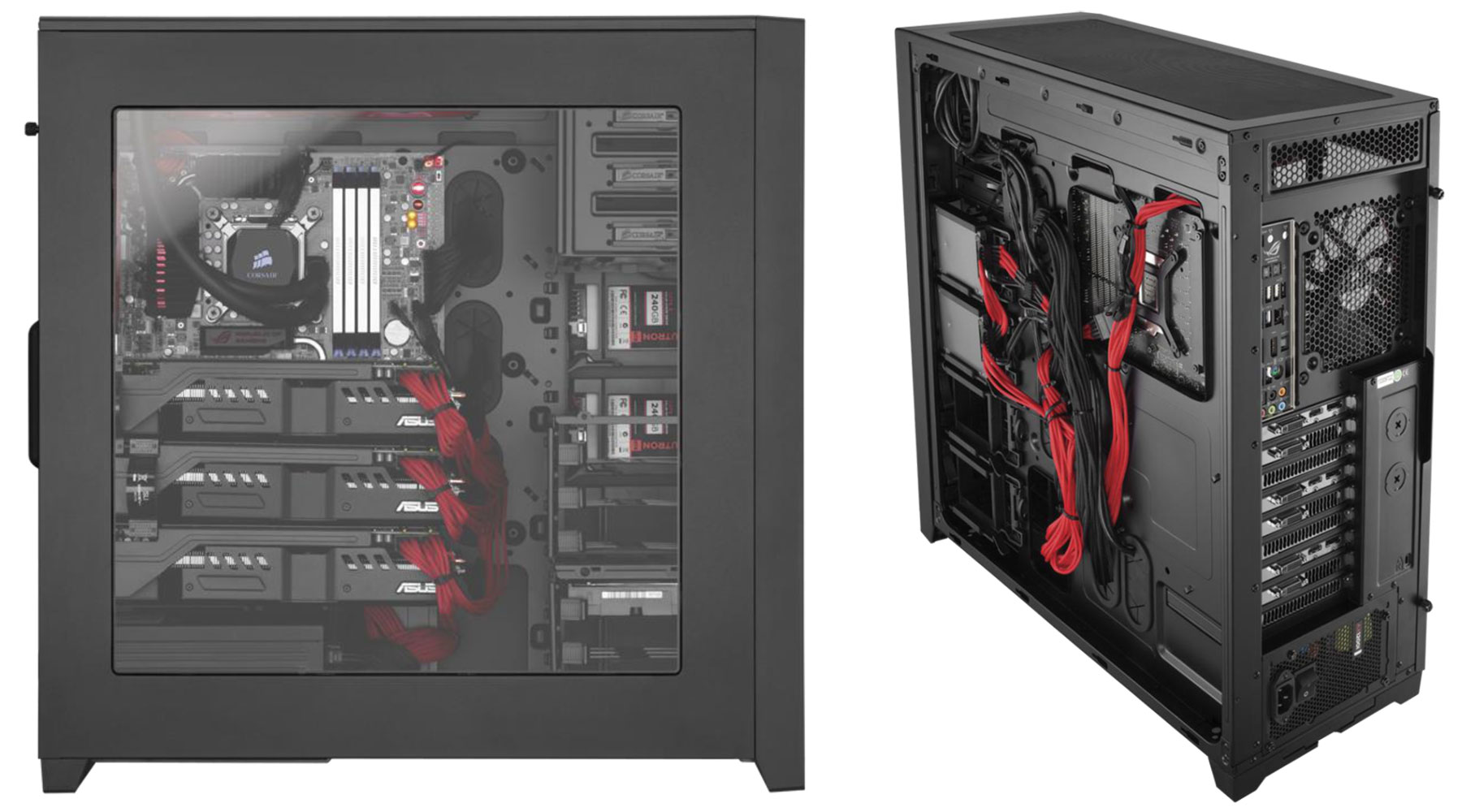 review corsair obsidian d full tower case viewing the closed side of the case opposite of the clear window you will see wires pre run from the front panel to give you an idea of how well you can