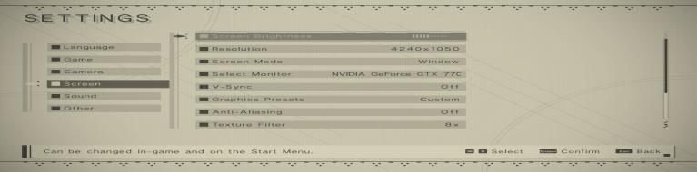 Settings menu, stretched horizontally